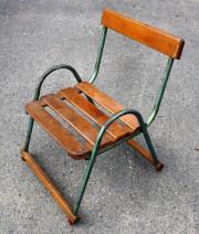 chaise vintage en bois et acier enfant 1950