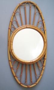 Miroir rotin, bambou, vintage, 1960