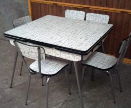 Table et chaises formica noir et blanc, CR
