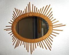 Miroir étoile en rotin années 60