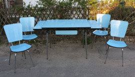 Table formica bleue, chaises formica, vintage, 1960