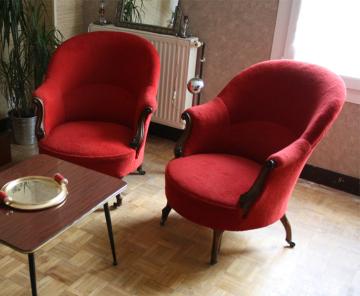 Paire de fauteuils crapaud XIXème siècle relookés années 60