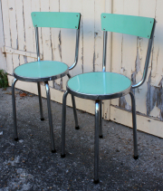Chaises formica, aluminium, années 50