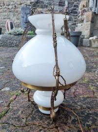 Lampe opaline et laiton, 1940 / 1950