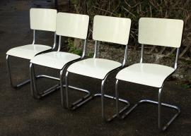 chaises tréneau formica jaune pâle