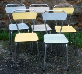 5 chaises formica, structure tubulaire chrome, années 60
