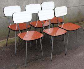 chaises bicolor formica, grise et acajou, années 50