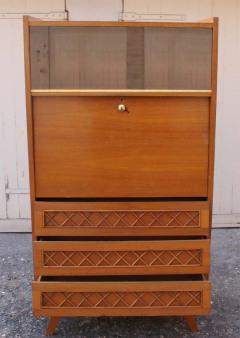 Secrétaire vintage 1950, chêne et rotin