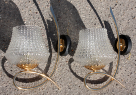 appliques vintage années 50 verre et laiton