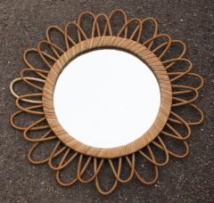 miroir rotin vintage, années 60