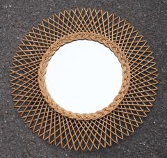 "Beau miroir soleil ""rond"", années 60, en rotin tressé"