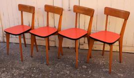 chaises bistrot années 50, bois et formica