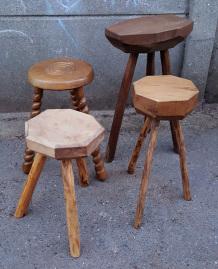 porte pots tripode, en bois, vintage