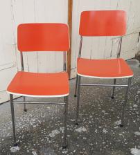 2 chaises formica années 70, couleur Corail