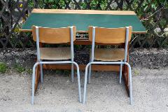 Bureau en bois d'écolier vintage, années 50