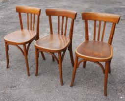 Trio de chaises FISCHEL, signées, vintage, années 50