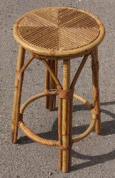 Tabouret bambou, vintage, 1960