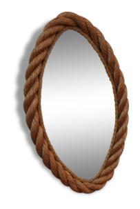 Miroir ovale Audoux Minet, en corde, vintage