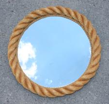 Miroir rond, corde, Audoux Minet, vintage,années 60