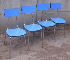 4 chaises formica bleues, ROC années 50