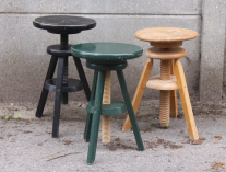 Tabourets à vis d'atelier en bois, vintage