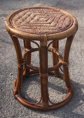 Tabouret rond bambou, années 80