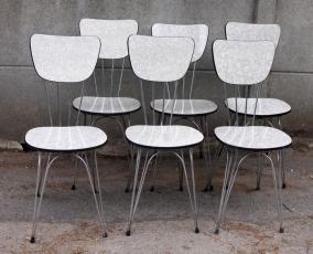 Chaises grises formica pied eiffel, vintage, années 50