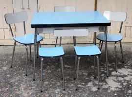 Table, chaises et tabourets formica bleu et gris, vintage, 1960