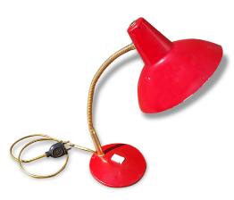 Lampe de bureau, métal, rouge, vintage, années 50