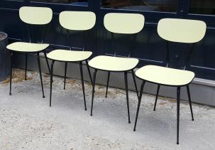 chaises formica rouge années 50