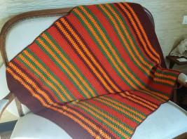 Plaid tricoté main, vintage, années 60.