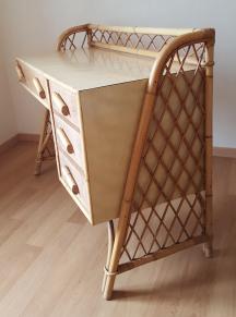 Bureau formica, bambou rotin, vintage, années 50, esprit Sognot