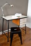 bureau formica blanc, vintage, années 60