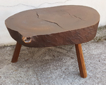 Table tronc vintage, esprit chalet, 3 tabourets