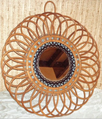 miroir rotin, 1960, modèle fleur