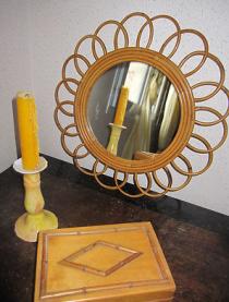 miroir soleil en rotin vintage 50 / 60