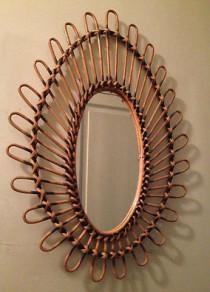 miroir rotin années 70, deco retro