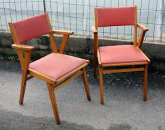 fauteuil bridge 1950, inspiration scandinave, bois et skai