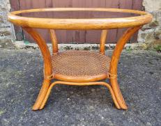 table basse en bambou et rotin vintage