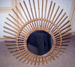 miroir lever de soleil rotin vintage 1960