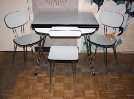 table, chaises et tabouret SIF Pieds eiffel, formica