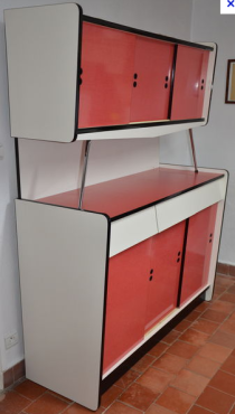 buffet formica blanc et rouge 1950