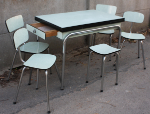 table, chaises, tabouret, formica, VOLO, 1950, vert