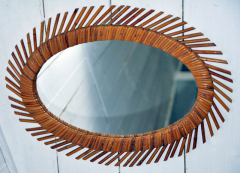 miroir soleil rotin, 1960