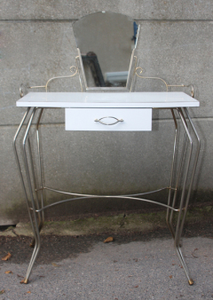 Coiffeuse vintage formica blanc, vers 1960