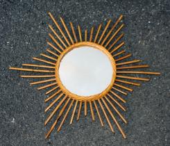 Miroir soleil années 60 rotin vintage