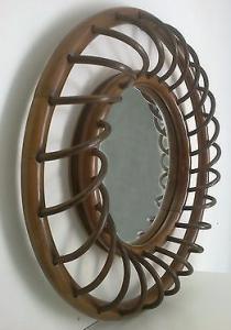 """miroir rotin des années 60, """"bombé"""""""