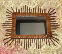 miroir soleil en rotin - rectangulaire