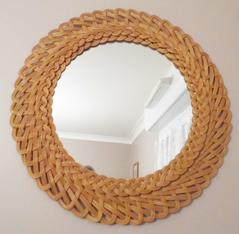 Grand miroir rotin tressé, vintage années 60