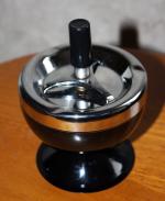 Cendrier poussoir de table en métal, vintage